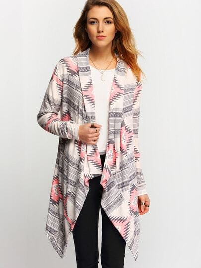 Grey Pink Long Sleeve Geometric Print Coat pictures