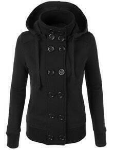 Black Hooded Double Breasted Slim Coat