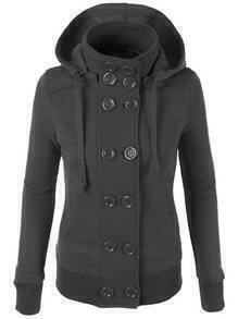 Grey Hooded Double Breasted Slim Coat