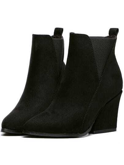 Black Chunky Heel Almond Toe Boots