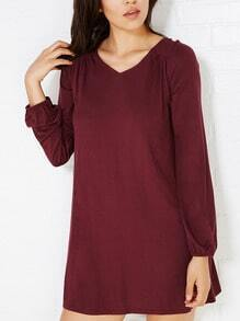 Burgundy V Neck Cut Out Back Tshirt Dress