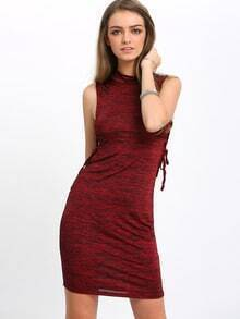 Burgundy Mock Neck Lace Up Side Bodycon Dress