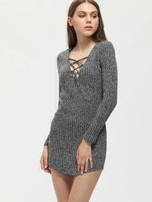 Grey Lace Up Neckline Tight Jersey Dress