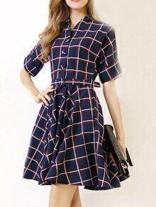 V Neck Checkered Belted Skater Dress