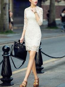 White Lace Embroidered Bodycon Dress
