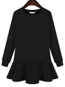Black Long Sleeve Peplum Hem Jersey Dress