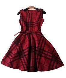 Burgundy Checkered Boat Neck Belted Skater Dress