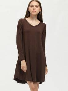 Brown V-Neck Long Sleeve Tshirt Dress