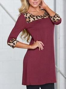 Burgundy Shift Dress With Contrast Leopard