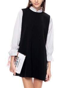 Black Contrast Collar And Sleeve Shift Dress