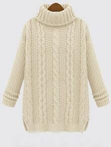 White Turtleneck Cable Knit Sweater