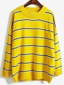 Women Yellow Striped Loose Sweater