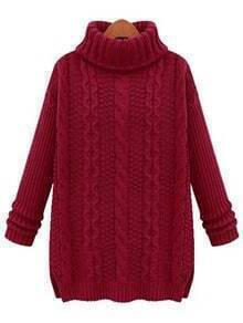 Burgundy Turtleneck Cable Knit Sweater