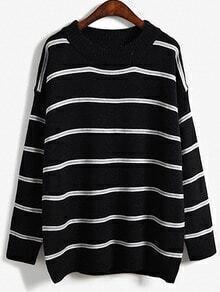 Women Black Striped Loose Sweater