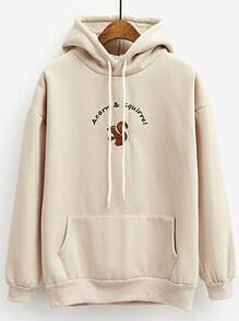 Beige Cartoon Print Drawstring Hooded Sweatshirt