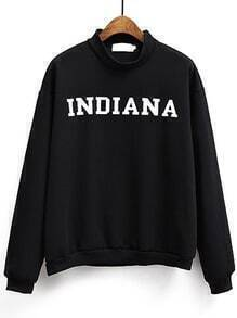 Women Black Letter Print Sweatshirt