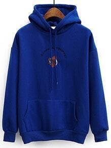Blue Cartoon Print Drawstring Hooded Sweatshirt