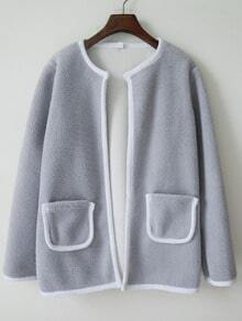 Grey Pocket Coat With Contrast Trims