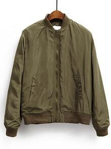 Army Green Stand Collar Pocket Padded Jacket