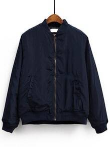 Navy Stand Collar Pocket Padded Jacket