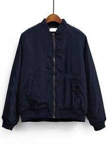 Navy Blue Stand Collar Pocket Padded Jacket
