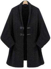 Black Batwing Sleeve Duffle Coat