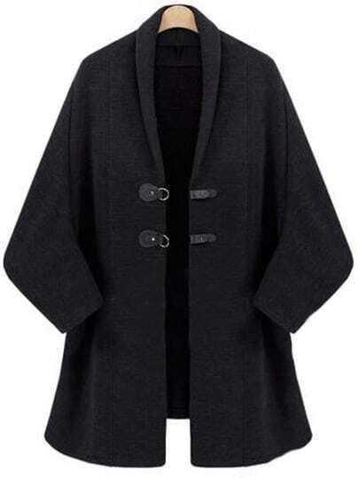 Black Batwing Sleeve Duffle Coat