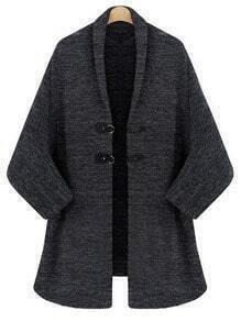 Grey Batwing Sleeve Duffle Coat
