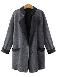 Grey Laple Coat With Contrast Collar And Cuffs
