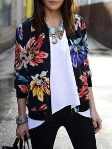 Women Collarless Floral Print Jacket