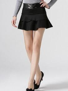 Women Black Ruffle Mini Skirt