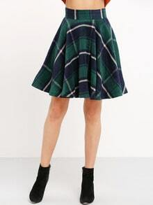 Green High Waist Checkered Skirt