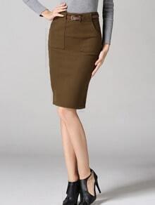Khaki High Waist Pocket Belted Pencil Skirt