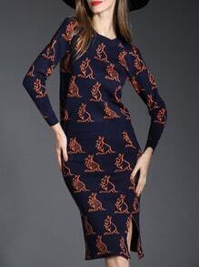 Blue Kangaroo Patterened Sweater With Bodycon Skirt