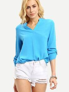 Blue V Neck Buckle Casual Blouse