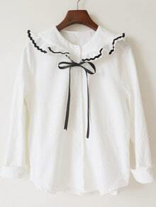 White Ruffle Collar Long Sleeve Loose Blouse
