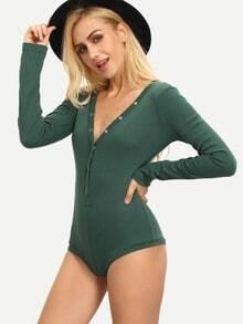 Green V Neck Button Front Bodysuit