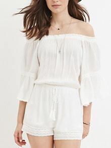 White Off The Shoulder Drawstring Jumpsuit