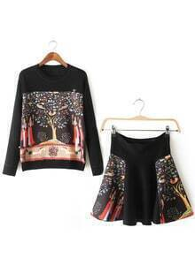 Colour Round Neck Tree Print Top With Skirt
