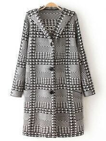 Black White Hooded Houndstooth Single Breasted Coat