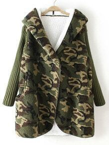 Green Hooded Camouflage Print Pockets Coat