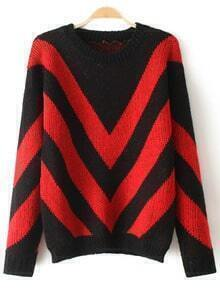 Red Black Round Neck Striped Loose Sweater