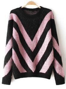 Black Pink Round Neck Striped Loose Sweater