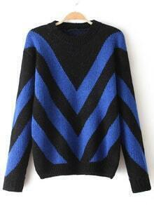 Blue Black Round Neck Striped Loose Sweater