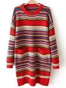 Colour Round Neck Pockets Long Sweater