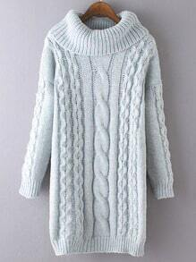 Turquoise High Neck Cable Knit Long Sweater