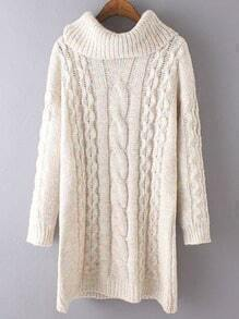 Beige High Neck Cable Knit Long Sweater