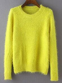 Yellow Round Neck Long Sleeve Crop Sweater