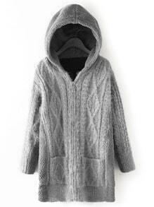 Grey Hooded Diamond Patterned Pockets Sweater Coat
