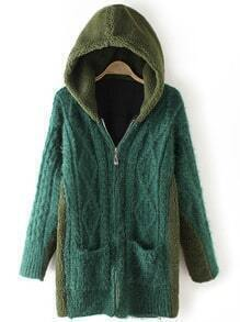Green Hooded Diamond Patterned Pockets Sweater Coat